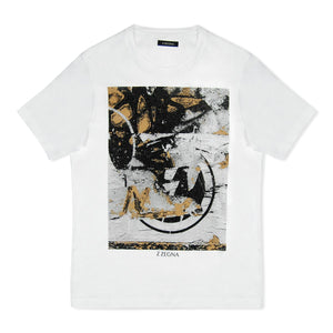 White Zegna Textured Print T-Shirt