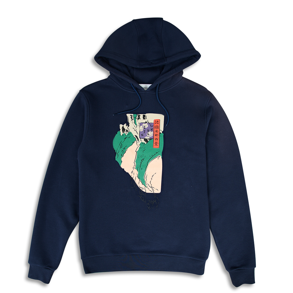 Untitled Atelier Abstract Art Printed Hoodie - Navy