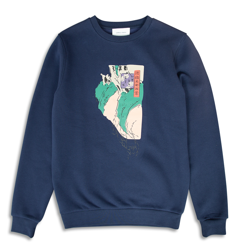 Untitled Atelier Abstract Art Printed Sweatshirt - Navy