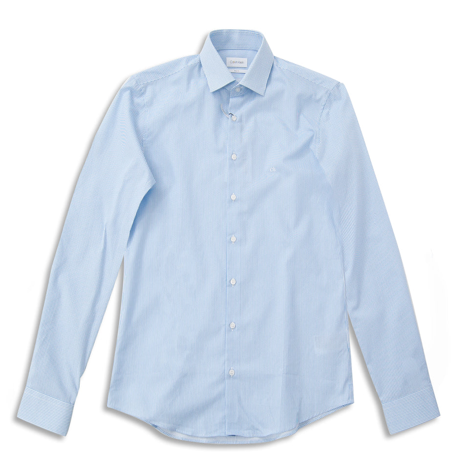 Calvin Klein Printed Slim LS Shirt - Light Blue
