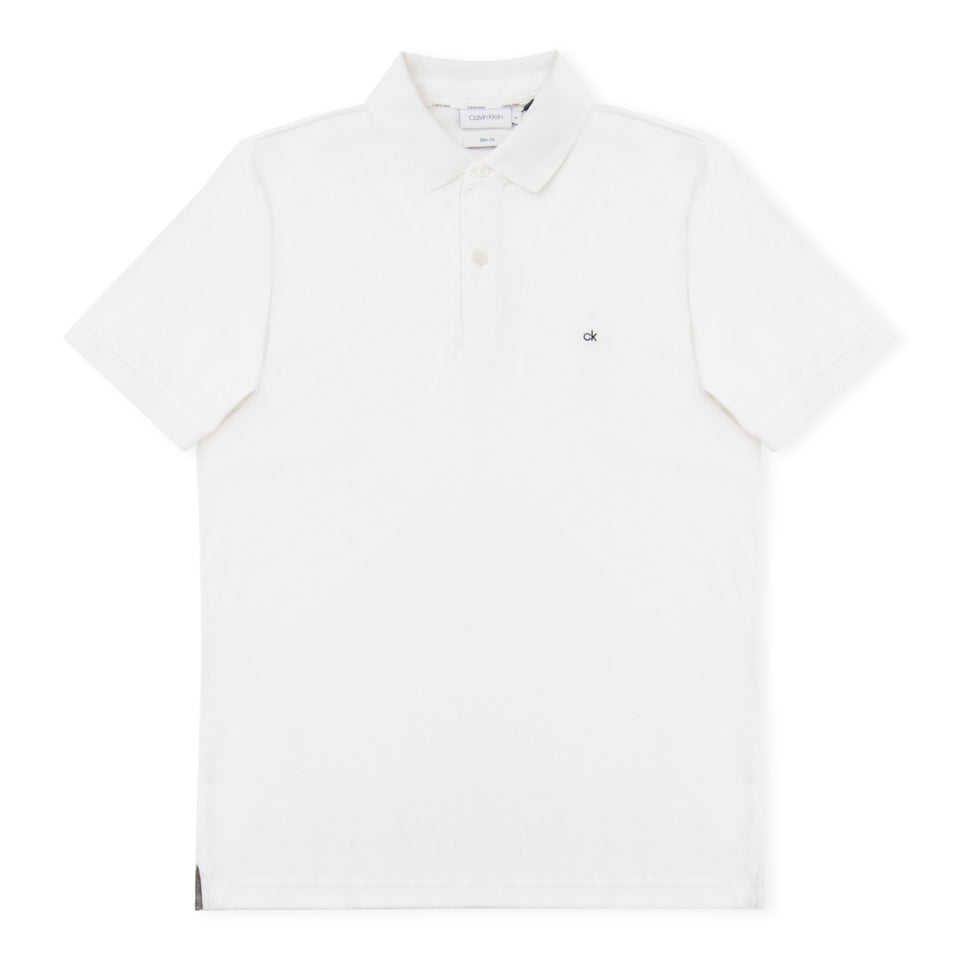 Calvin Klein 2 Tone Soft Interlock Polo - White