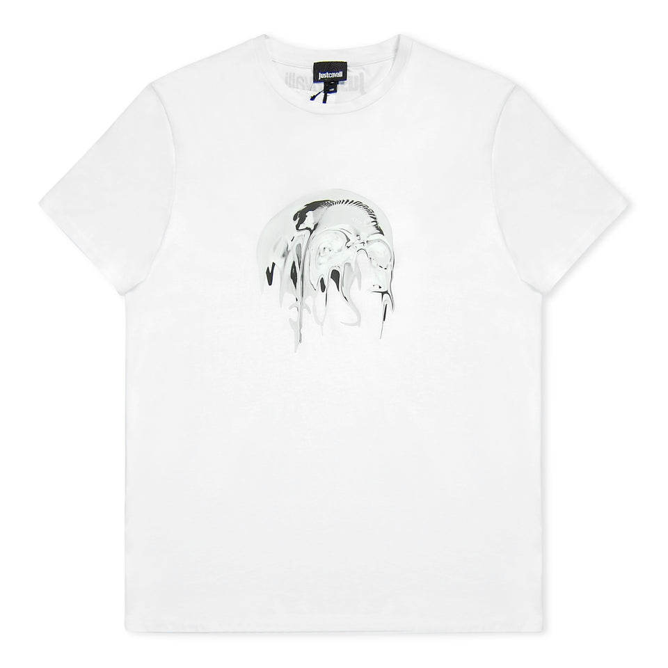 Just Cavalli Liquid Skull T-Shirt - White