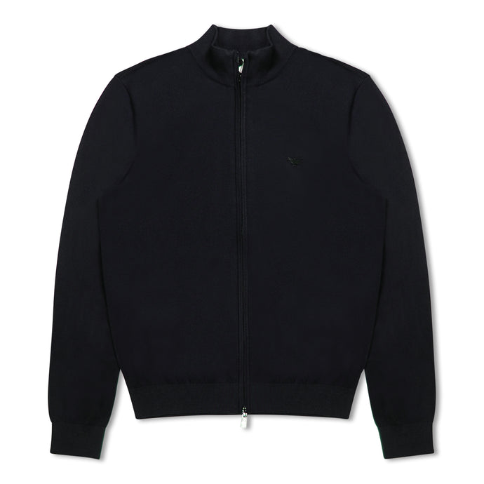Navy Emporio Armani Zip Through Cardigan