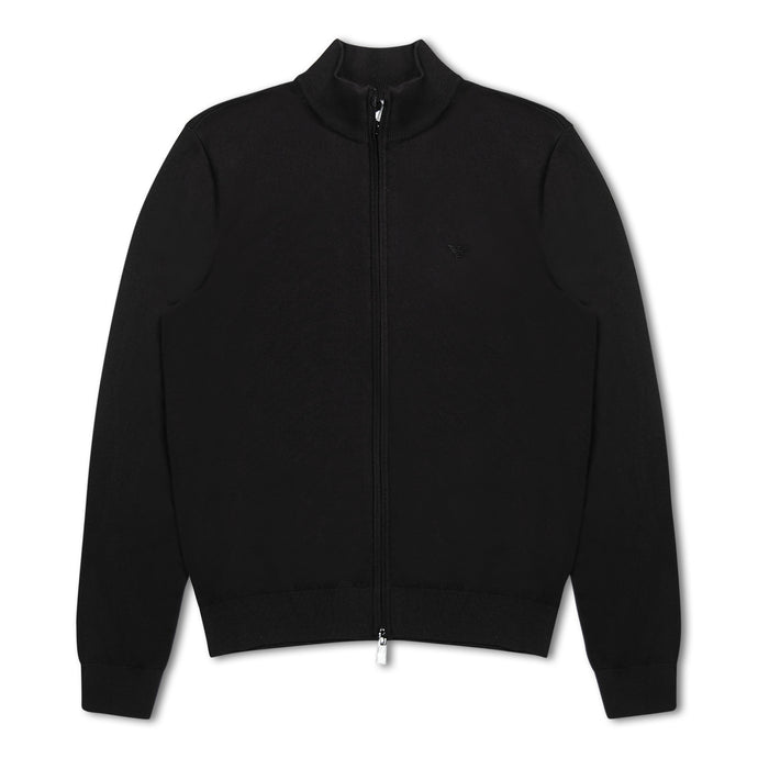 Emporio Armani Zip Through Cardigan - Black