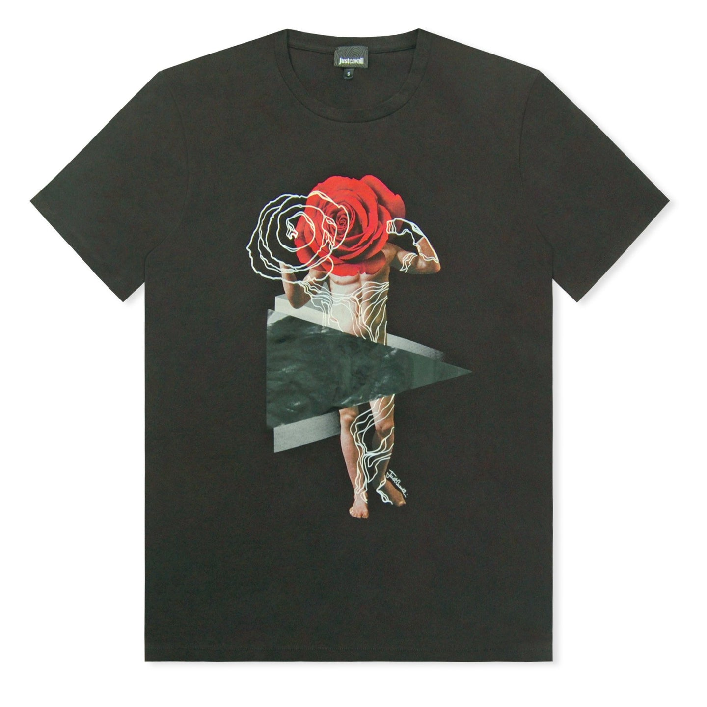 Black Just Cavalli Man And Red Rose T-Shirt