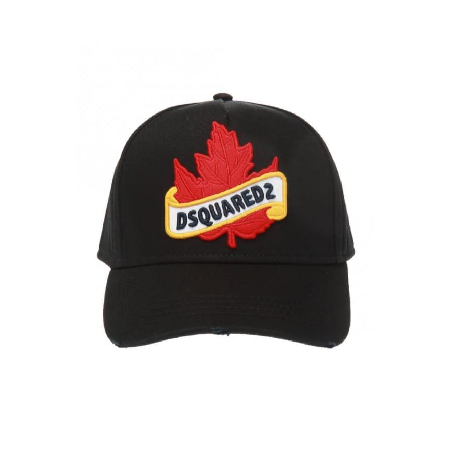 Black Dsquared2 Leaf Logo Cap