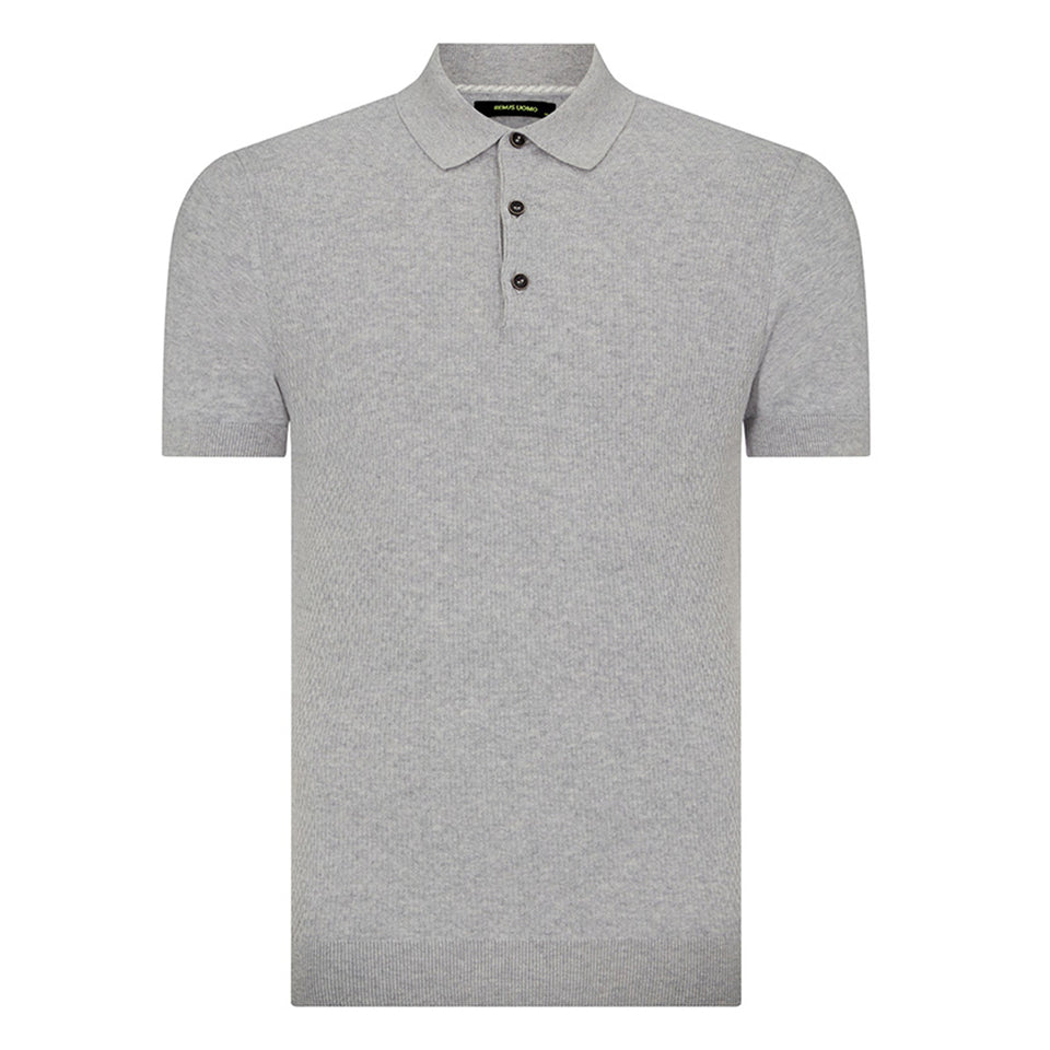 Remus Uomo Knitted Pattern SS Polo Grey