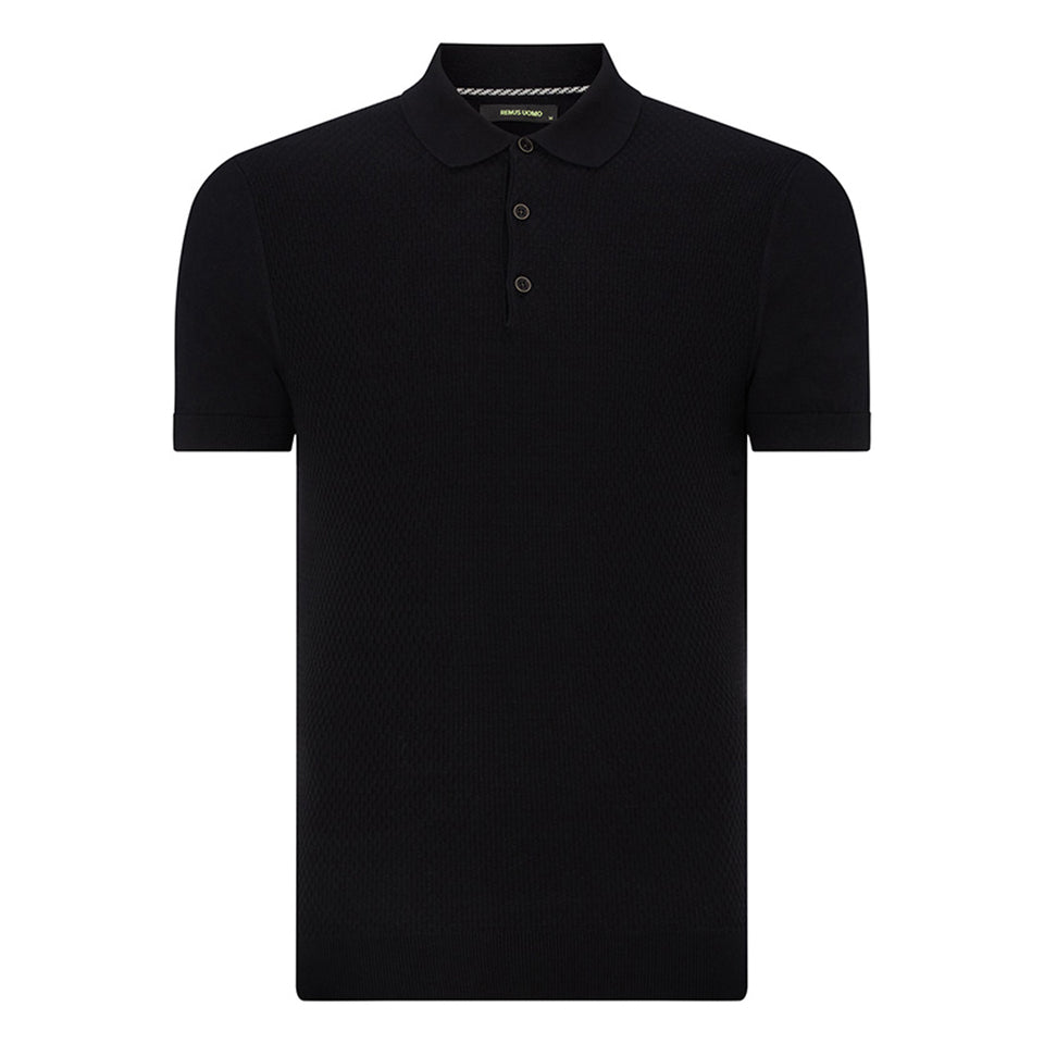 Remus Uomo Knitted Pattern SS Polo Black