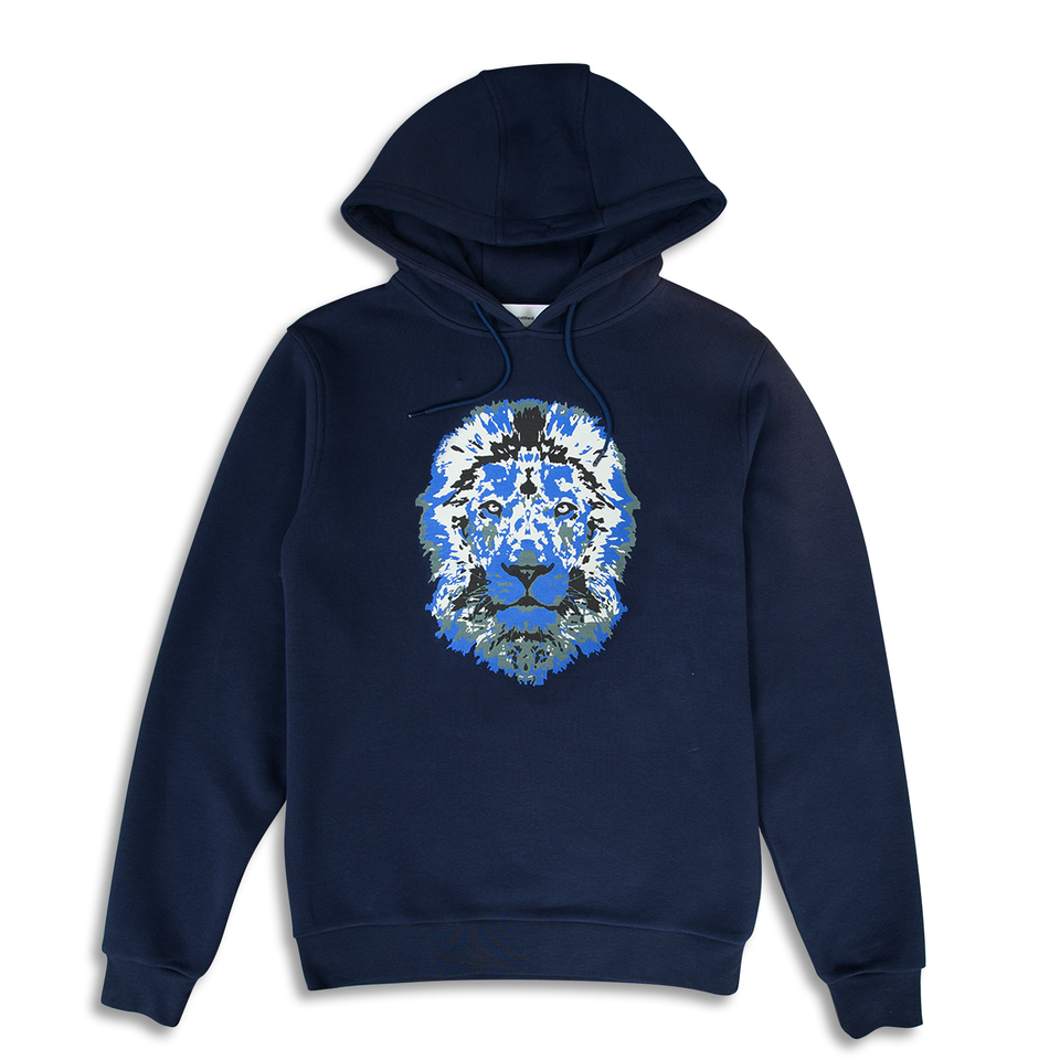 Untitled Atelier Lion Printed Hoodie - Navy