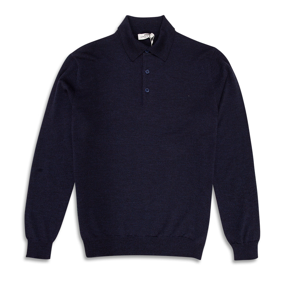 Untitled Atelier Knitted LS Polo - Blue Merl