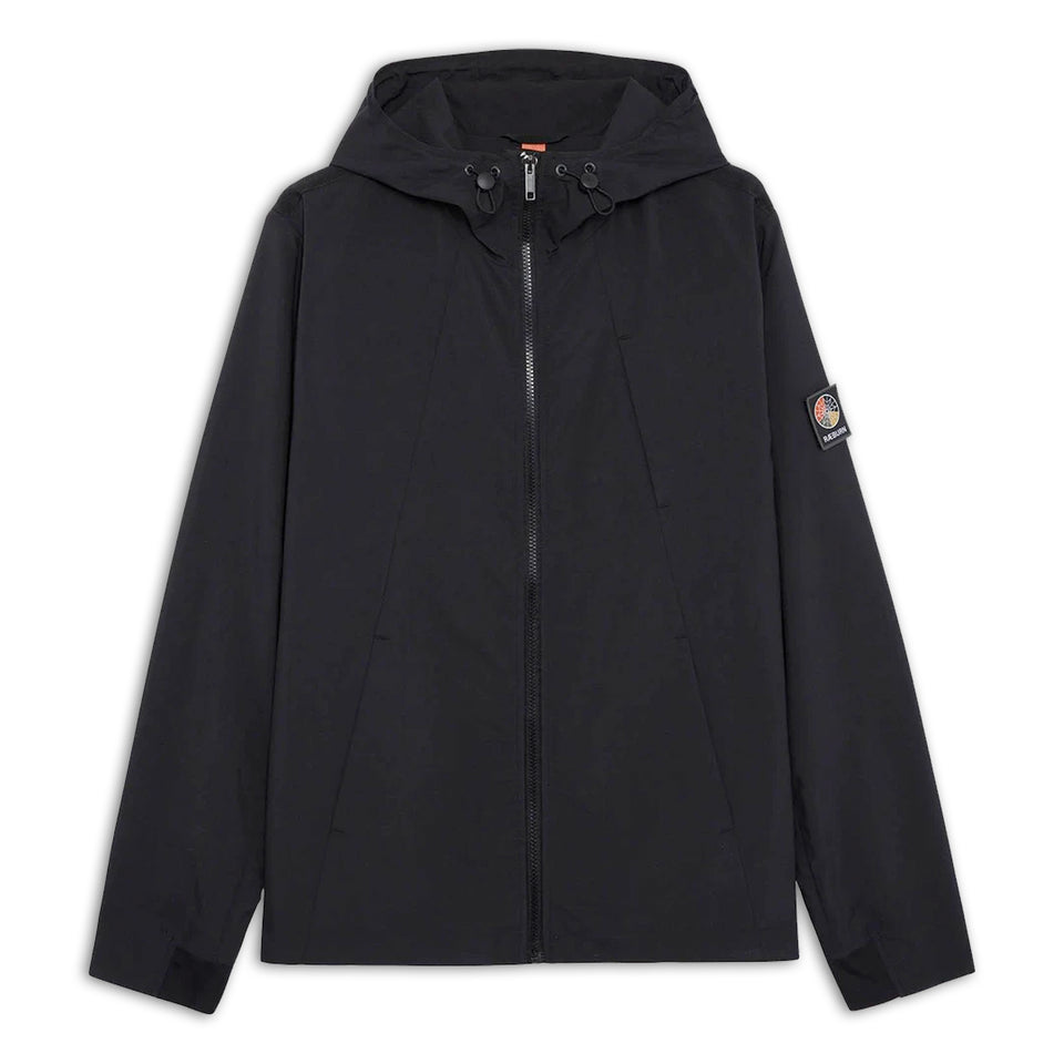 Raeburn Polyester Hooded Windbreaker - Black