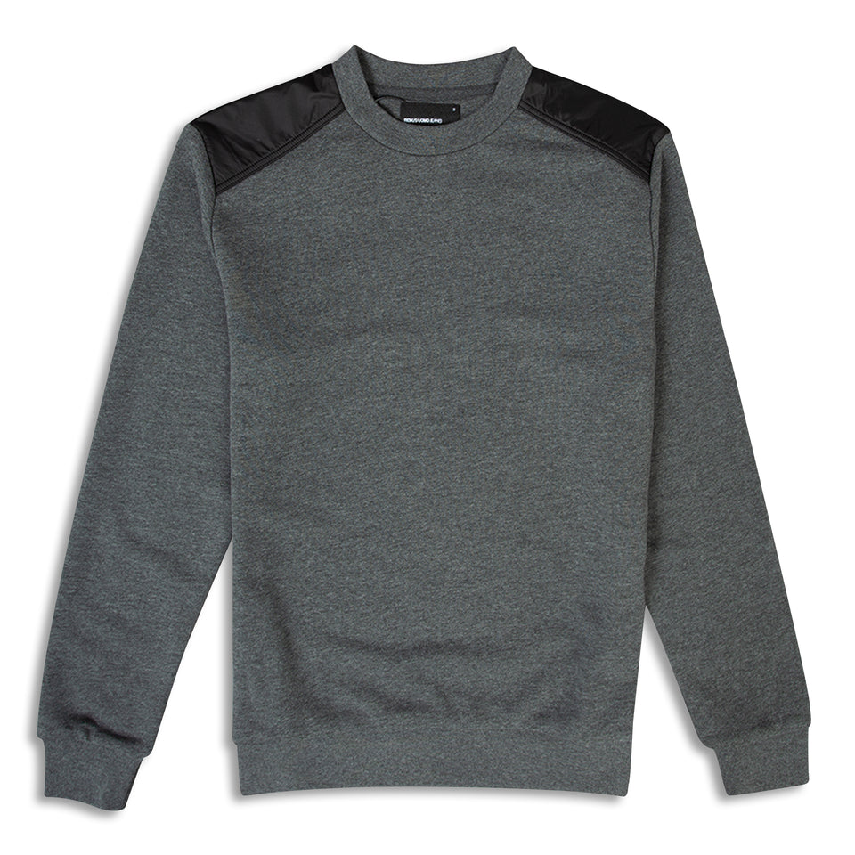 Remus Uomo Panelled Crew Sweatshirt - Grey/Black