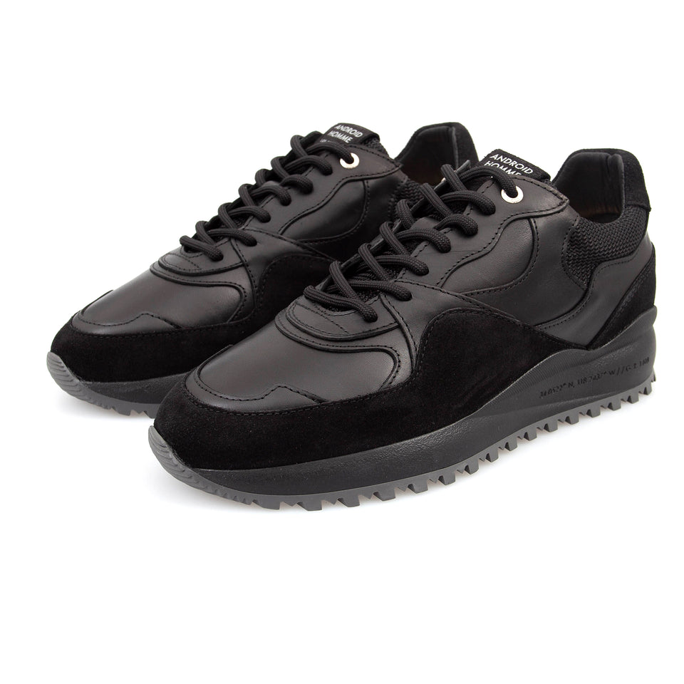 Android Homme Santa Monica Suede/Leather Trainers - Black
