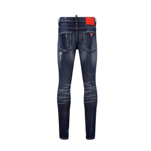 7TH HVN Ripped Faded Slim Jeans - Dark Blue