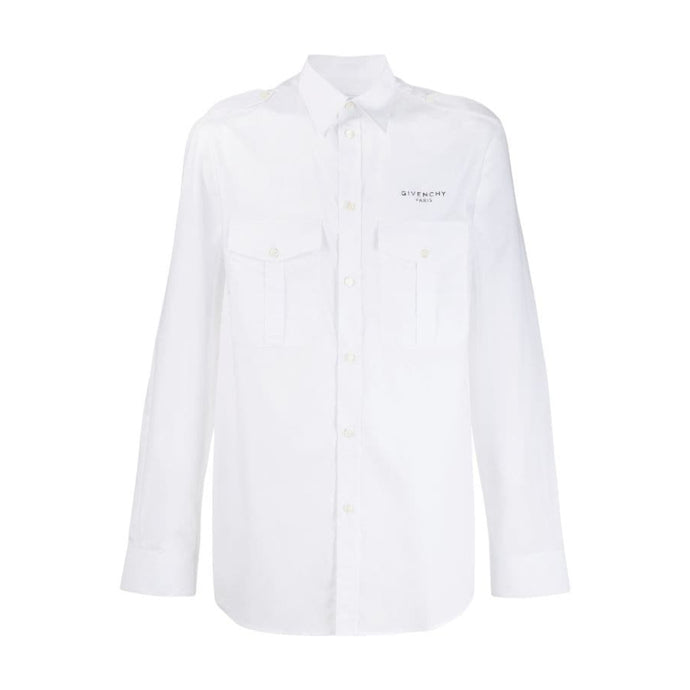 Givenchy Smart Military Logo Shirt - White