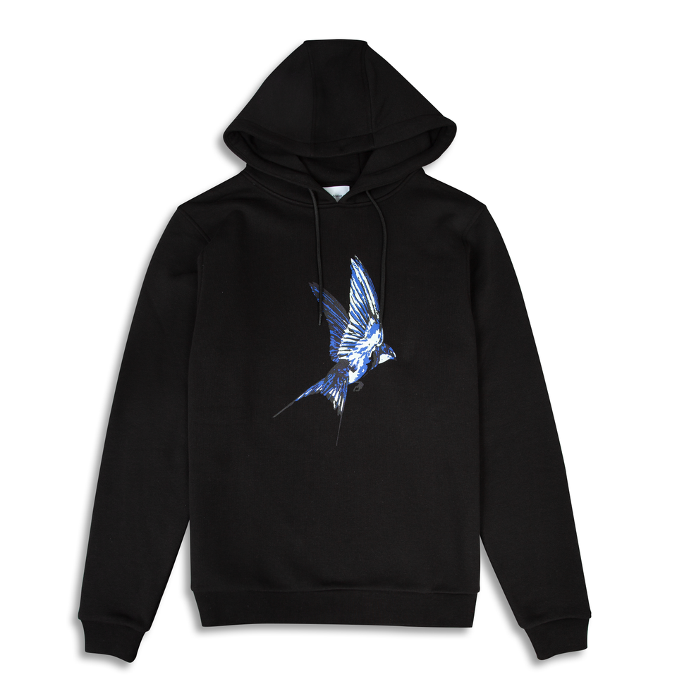 Untitled Atelier Swallow Printed Hoodie - Black