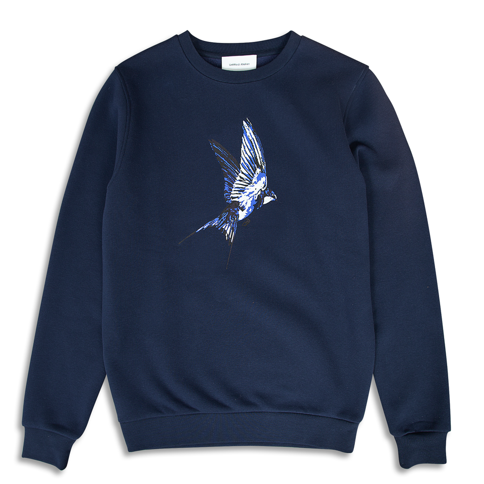 Untitled Atelier Swallow Printed Sweatshirt - Navy