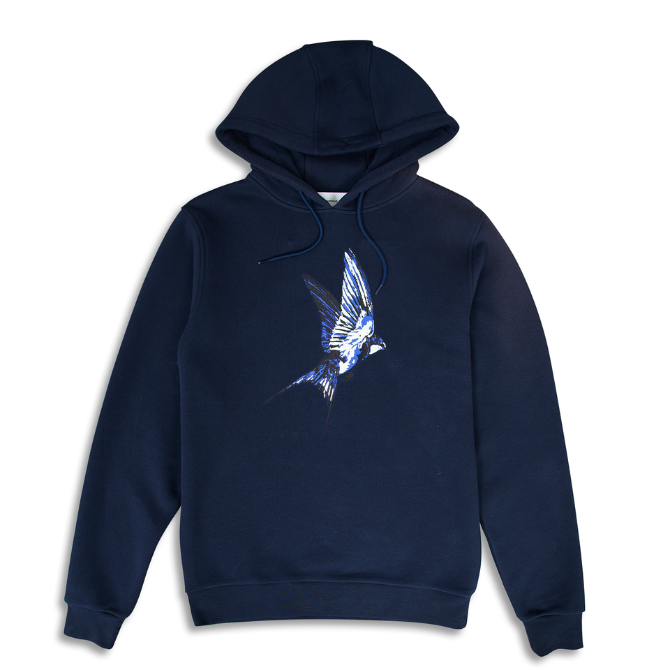Untitled Atelier Swallow Printed Hoodie - Navy