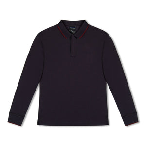 Navy Emporio Armani Jersey Long Sleeve Polo