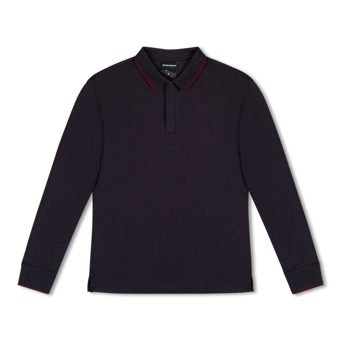 Emporio Armani Jersey Long Sleeve Polo - Navy