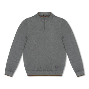 Grey Emporio Armani Knitted Zip Through Pullover