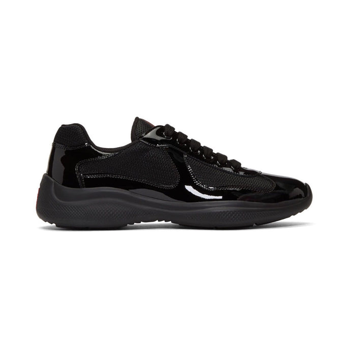Black Prada Patent Leather America's Cup Trainers