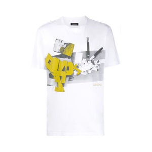 White Zegna Grey/yellow Print T-shirt