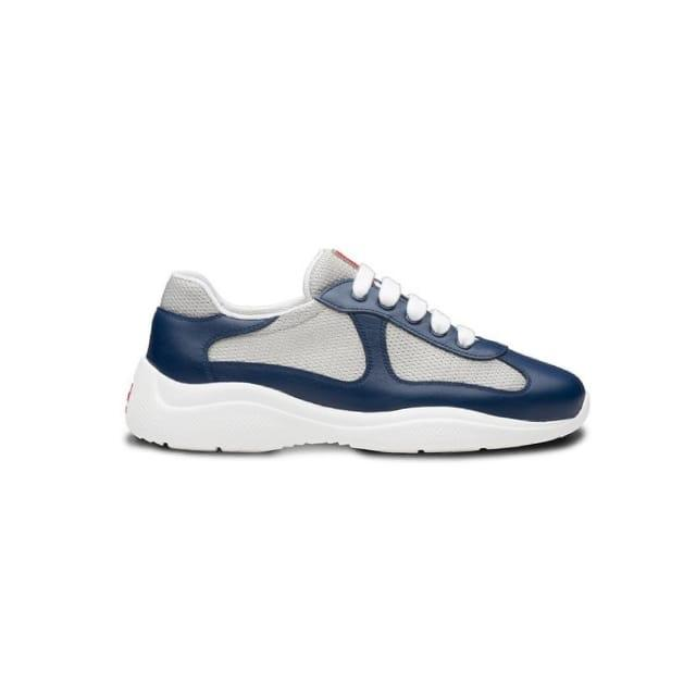 Navy And White Prada Americas Cup Trainers