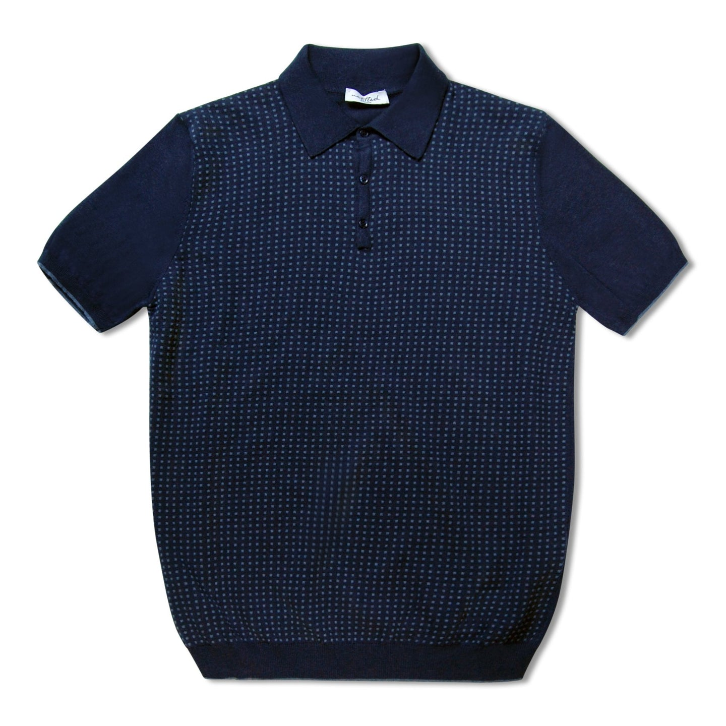 Untitled Atelier Merino Wool Spotted Polo - Blue