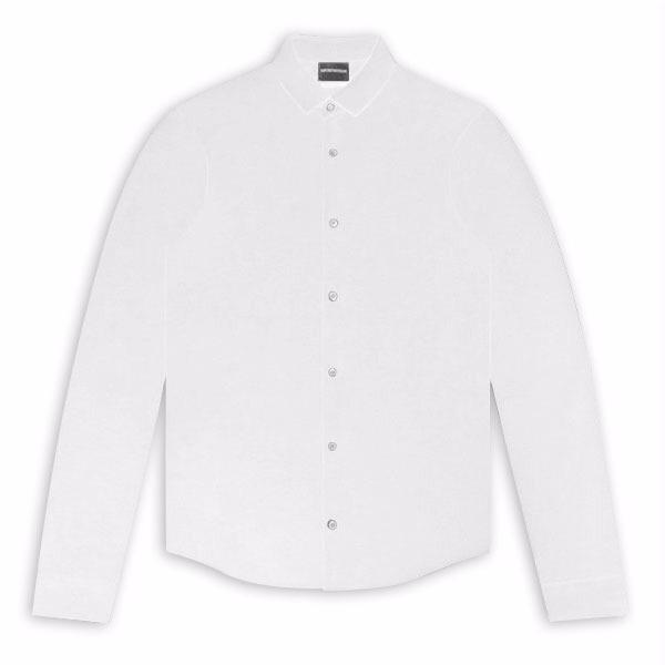White Emporio Armani Long Sleeve Jersey Shirt