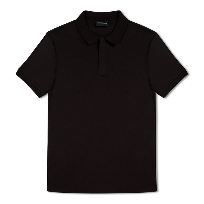 Emporio Armani Zip Up Polo - Black