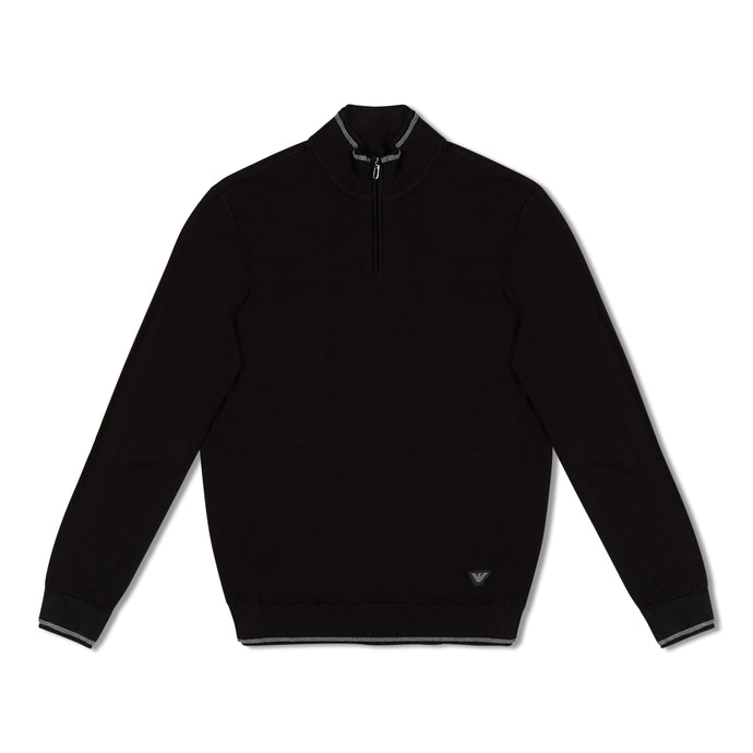 Emporio Armani Knitted Zip Through Pullover - Black