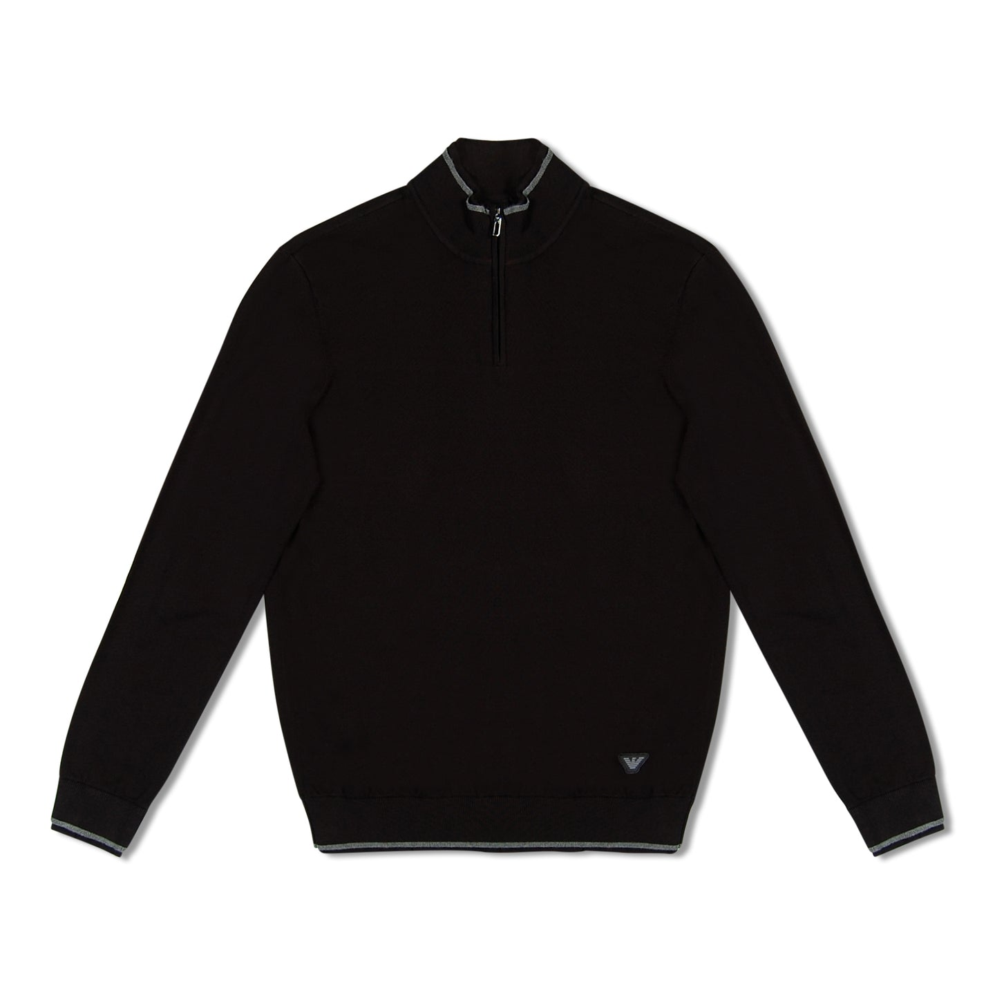 Black Emporio Armani Knitted Zip Through Pullover