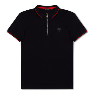 Black Antony Morato Zip SS Polo