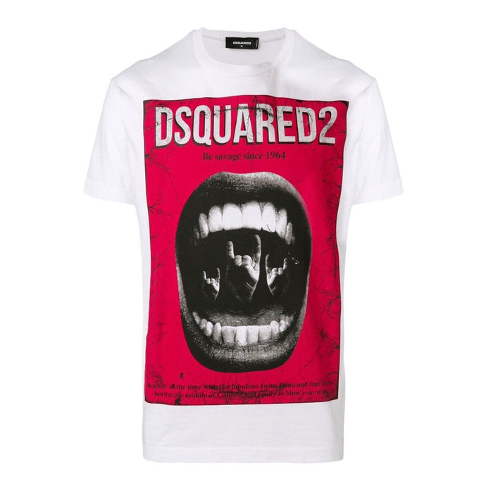 White Dsquared2 Be Savage Print T-Shirt