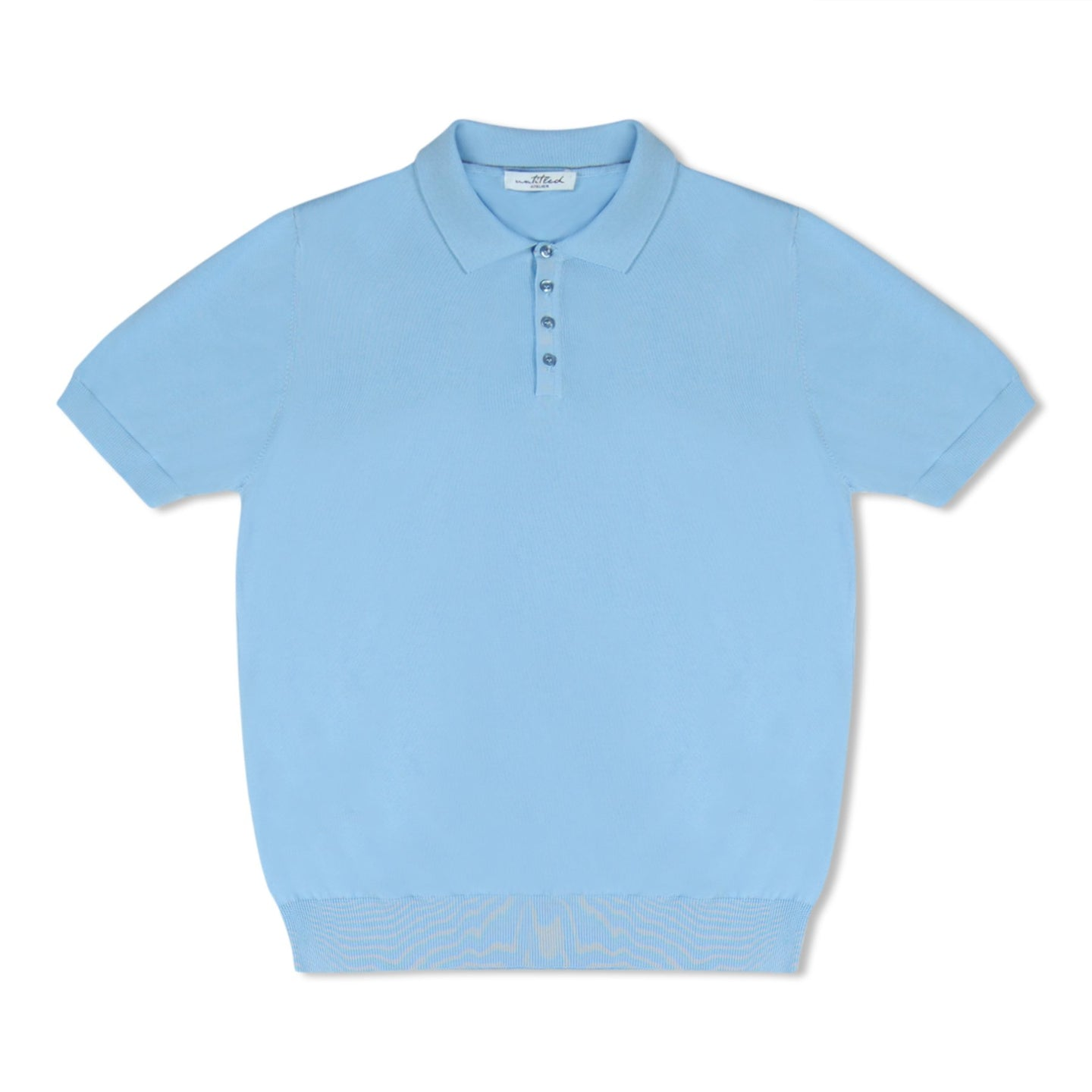 Light Blue Untitled Atelier Knitted SS Polo