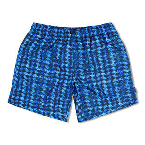 Blue Zegna Square Print Swim Shorts