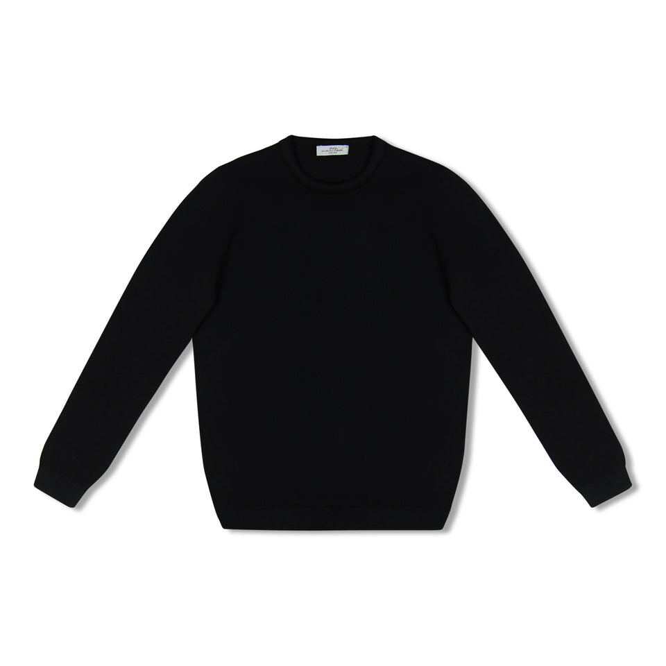Untitled Atelier Contrast Collar Knitted Crew Neck - Navy