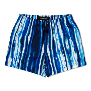 Blue Zegna Stripe Water Colour Swim Shorts