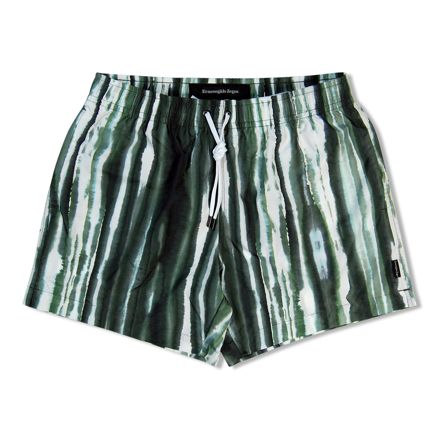 Green Zegna Stripe Water Colour Swim Shorts