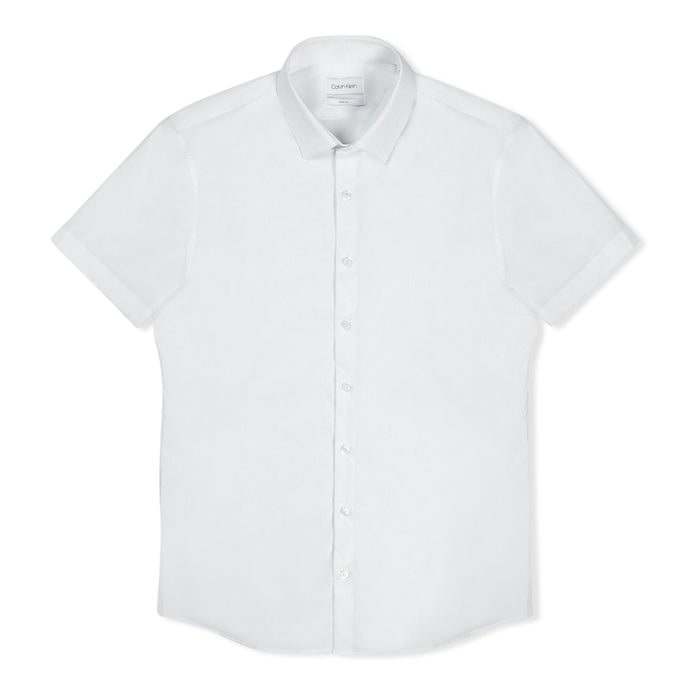 White Calvin Klein Stretch Slim S/S Shirt
