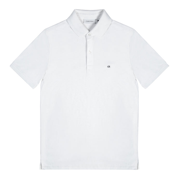 White Calvin Klein Chest Logo Polo