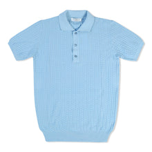Light Blue Untitled Atelier Waffle Knit Polo