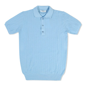 Untitled Atelier Waffle Knit Polo - Light Blue