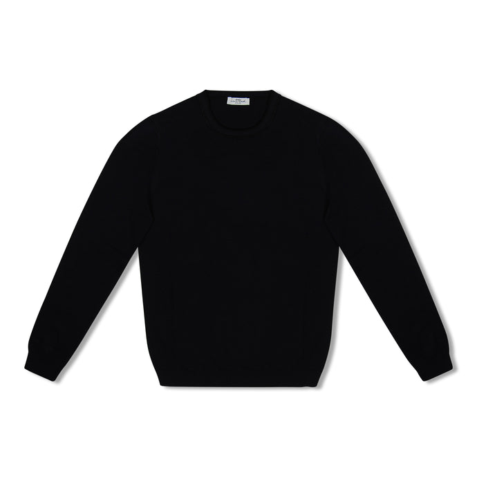 Black Untitled Atelier Contrast Collar Knitted Crew Neck