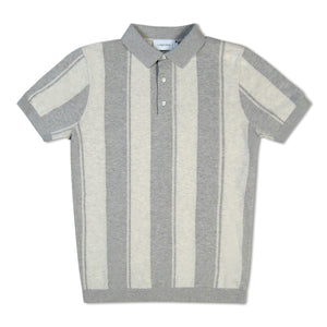 Grey Calvin Klein Vertical Stripe Knitted Polo