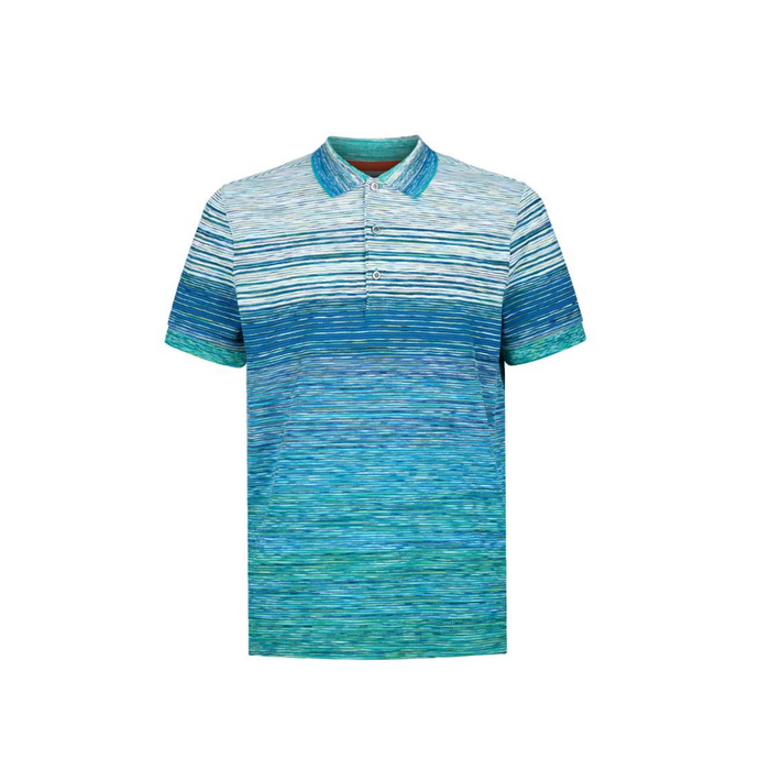 Multi Green Missoni Pique Short Sleeve Polo