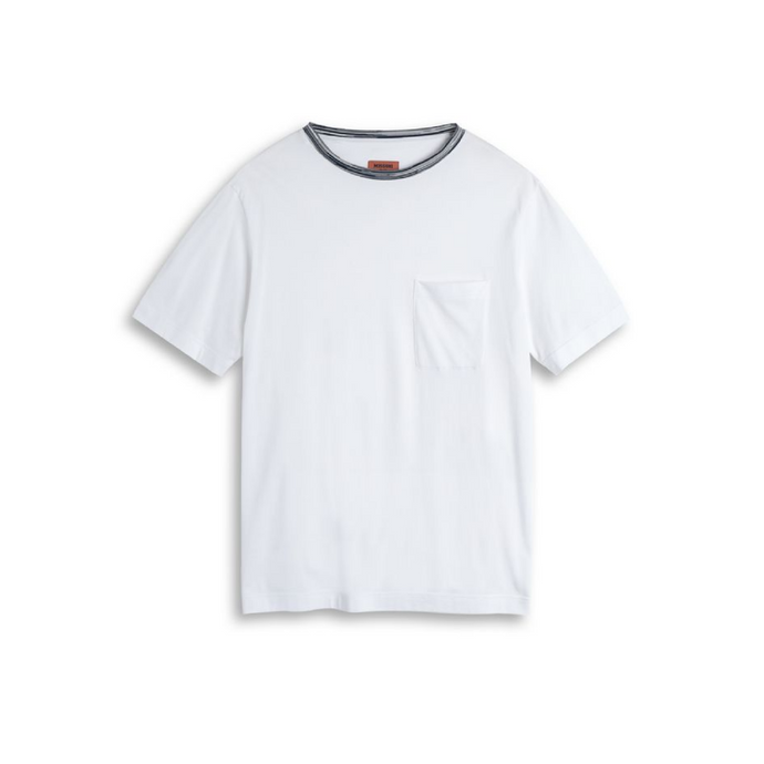 White Missoni Pattern Collar T-Shirt
