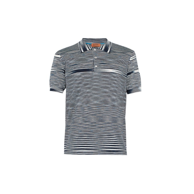 Navy/White Missoni Knitted Polo