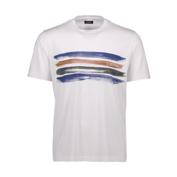 White Z Zegna Water Colour Stripe T-Shirt